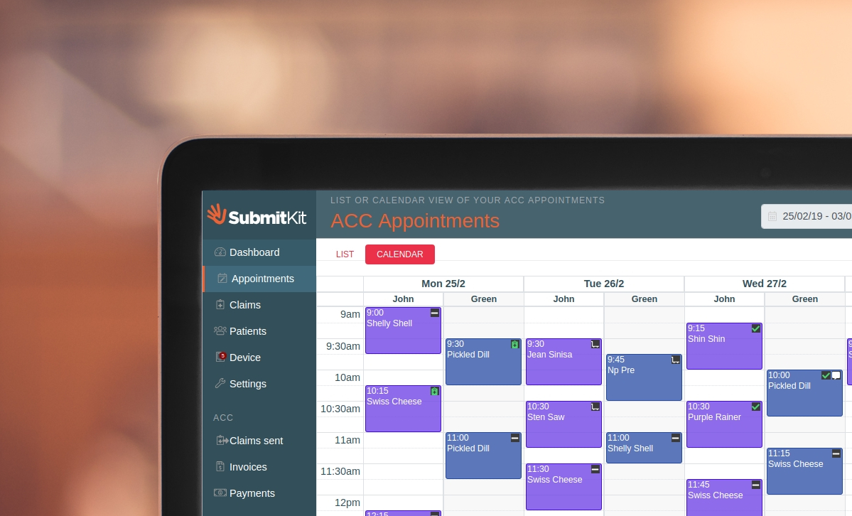 SubmitKit calendar view using cliniko to create claims and invoice ACC directly